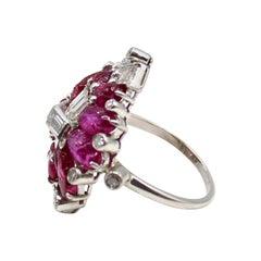 Art Deco Carved Cabochon Ruby Diamond Platinum Ring