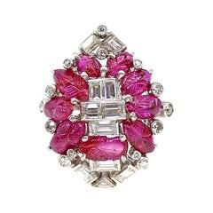 Art Deco Carved Cabochon Ruby Diamond Platinum Ring