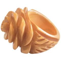 Art Deco Carved corn yellow Bakelite ring