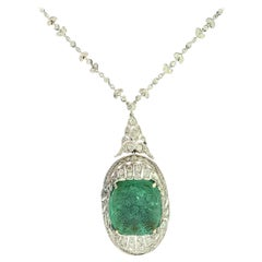 Art Deco Carved Emerald and Diamond Necklace