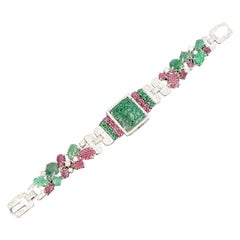 Art Deco Style Carved Emerald and Ruby Tutti Frutti Bracelet