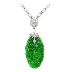 Art Deco Carved Green Jade Diamond White Gold Necklace
