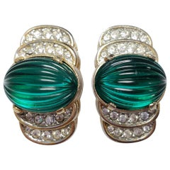 Art Deco Carved Green Open Back Crystal Clip on Earrings in Gold, Early 1900s