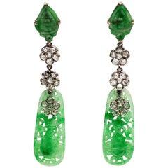 Art Deco Carved Jade and Diamond Earrings