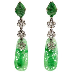 Art Deco Carved Jade and Diamond Earrings