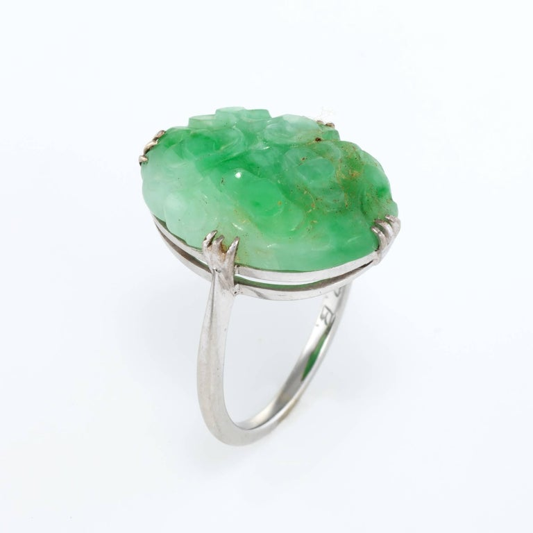 4a75b1f83f497 Art Deco Carved Jade Cocktail Ring 18 Karat White Gold
