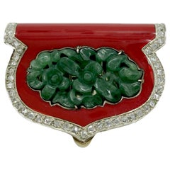Art Deco Carved Jade, Coral, and Diamond Clip Brooch