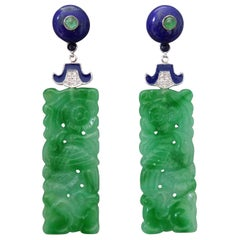 Art Deco Carved Jade Lapis Lazuli Gold Emeralds Diamonds Enamel Dangle Earrings
