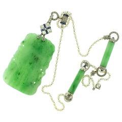 Art Deco Carved Jade Pearl Diamond Sapphire Platinum Pendant Necklace