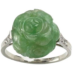 Art Deco Carved Jadeite Jade and Diamond Ring