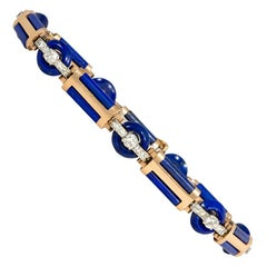 Art Deco Carved Lapis Link Bracelet with Diamonds, in Gold and Platinum