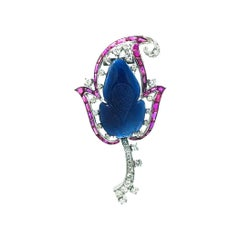 Art Deco, Carved Leaf Pendant, Ruby Diamond, 3.80 Carat