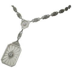 Art Deco Carved Quartz Diamond White Gold Necklace