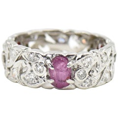 Art Deco Carved Ruby Leaf Diamond Floral Platinum Eternity Band