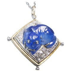 Antique Carved Sapphire, Diamond Dog Motif Pendant, circa 1920