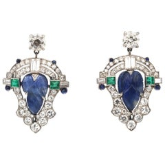 Art Deco Carved Sapphire Diamond Emerald Platinum Earrings