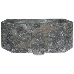 Art Deco Carved Stone Jardinière, Fountain Basin