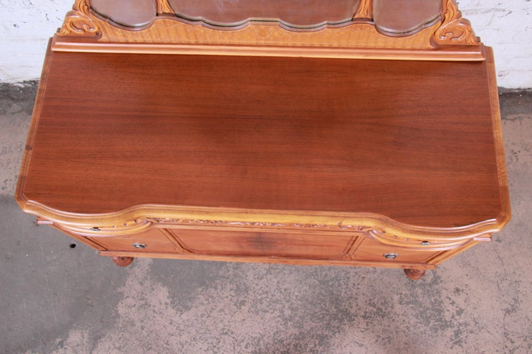 Art Deco Carved Walnut and Burl Wood Dresser with Mirror, 1930s For Sale 9