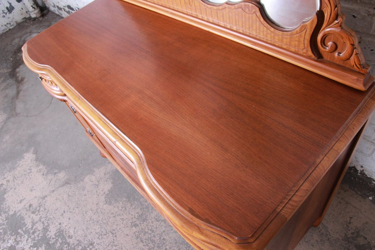 Art Deco Carved Walnut and Burl Wood Dresser with Mirror, 1930s For Sale 10