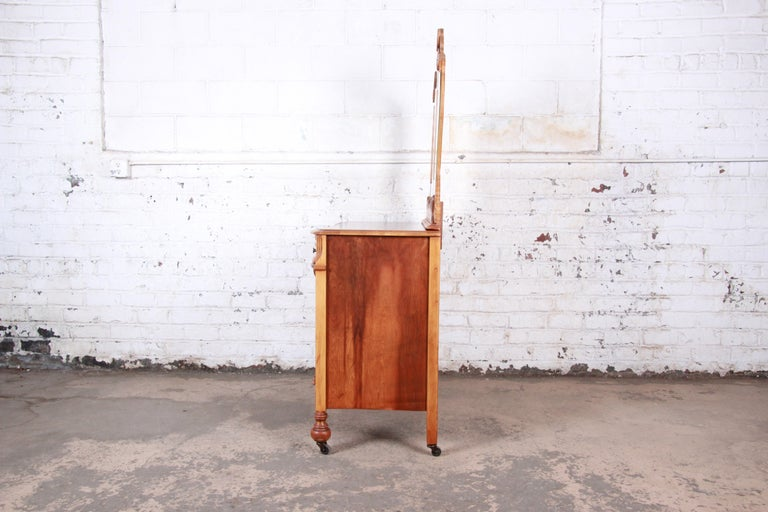 Art Deco Carved Walnut and Burl Wood Dresser with Mirror, 1930s For Sale 11