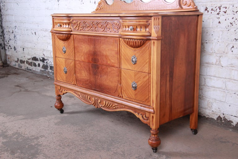 American Art Deco Carved Walnut and Burl Wood Dresser with Mirror, 1930s For Sale