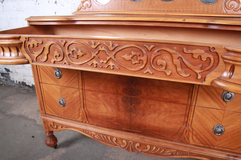 Art Deco Carved Walnut and Burl Wood Dresser with Mirror, 1930s For Sale 1