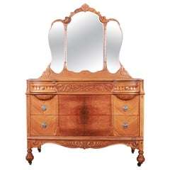 Art Deco Carved Walnut and Burl Wood Dresser with Mirror, 1930s