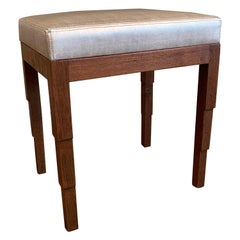 Art Deco Carved Walnut Upholstered Ottoman