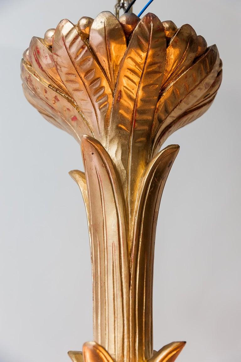 Art Deco Carved Wood Chandelier, 1930s For Sale 10