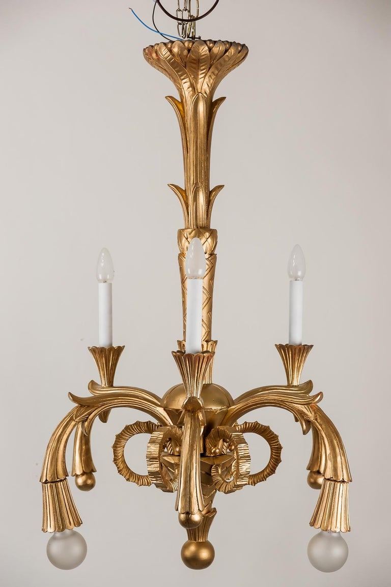 Painted Art Deco Carved Wood Chandelier, 1930s For Sale