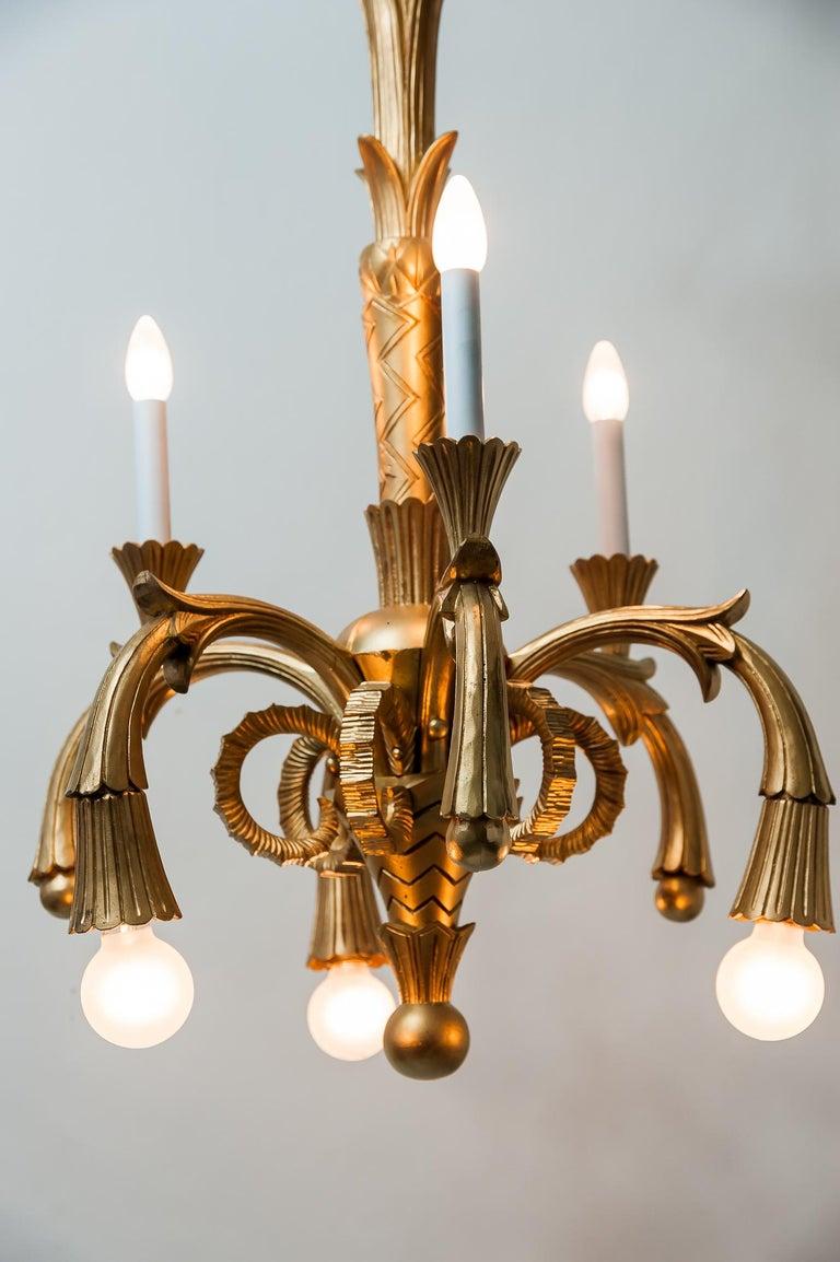 Art Deco Carved Wood Chandelier, 1930s For Sale 3