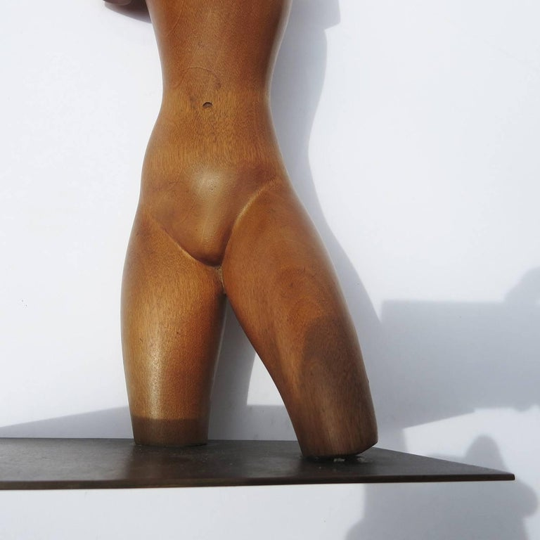 Austrian Art Deco Carved Wooden Nude Sculpture by Karl Hagenauer For Sale