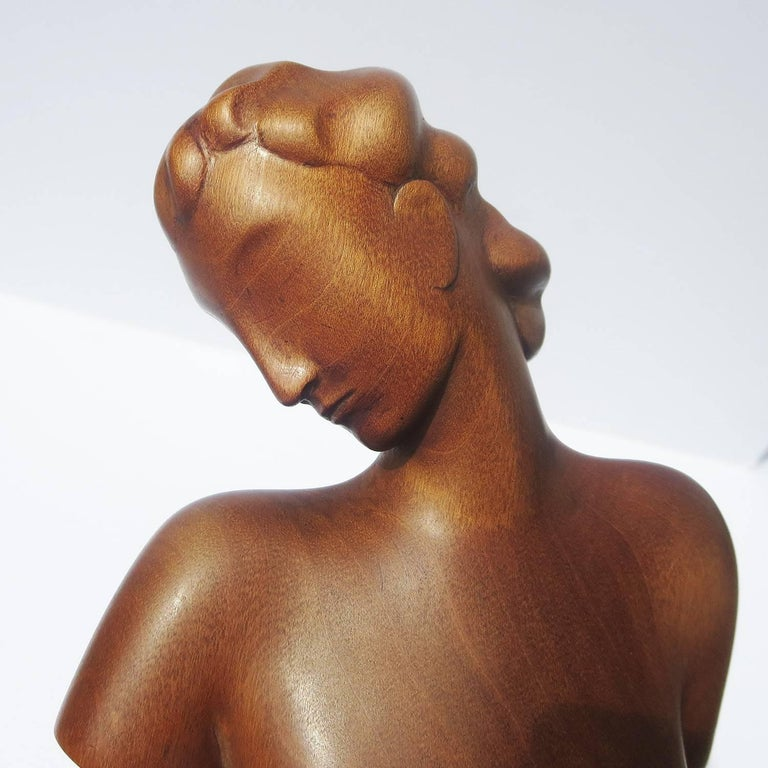 Art Deco Carved Wooden Nude Sculpture by Karl Hagenauer In Good Condition For Sale In Los Angeles, CA
