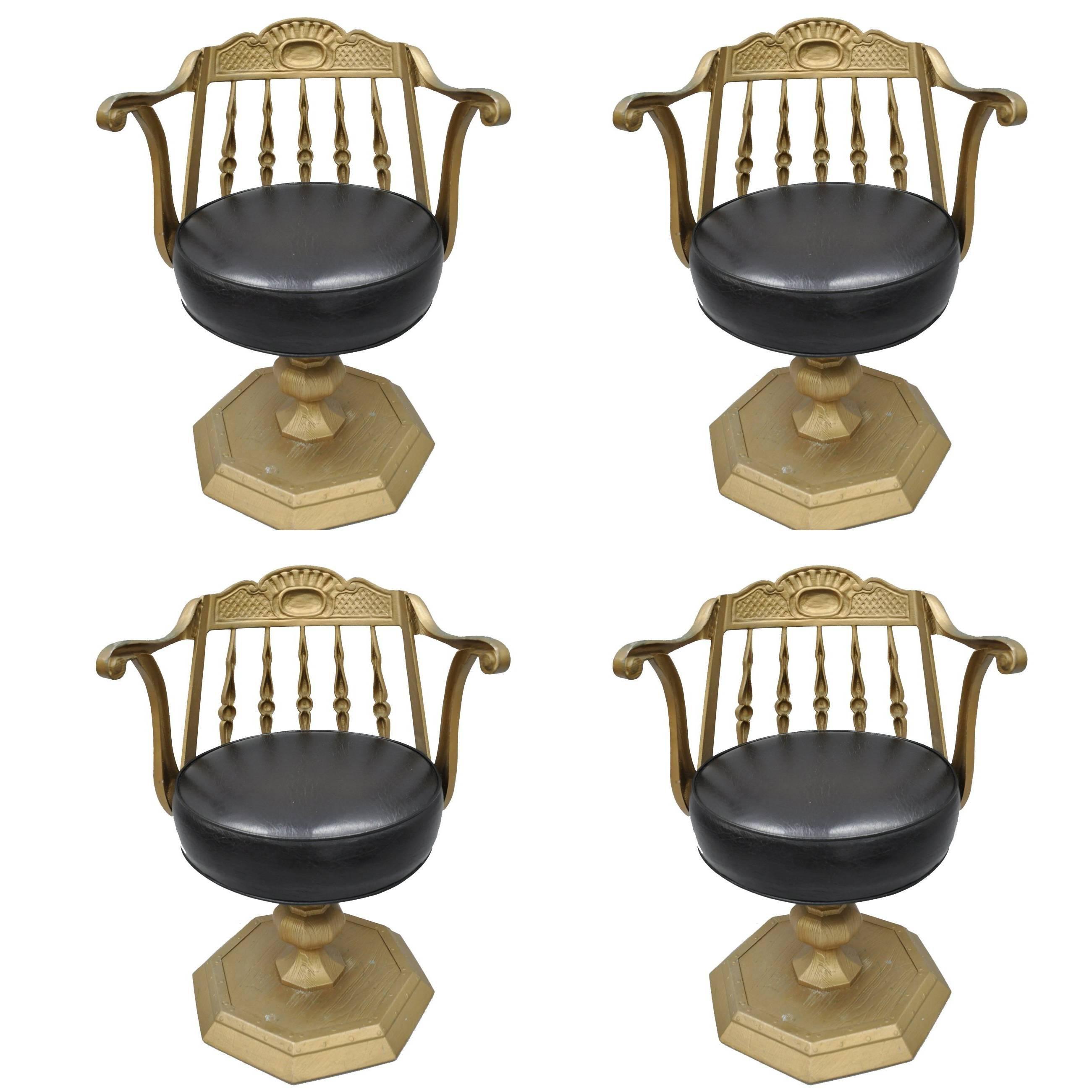 Art Deco Cast Aluminium Swivel Club Chairs Or Armchairs