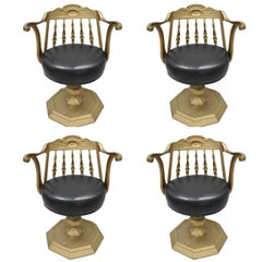 Art Deco Cast Aluminium Swivel Club Chairs or Armchairs Kessler Ind Set of Four