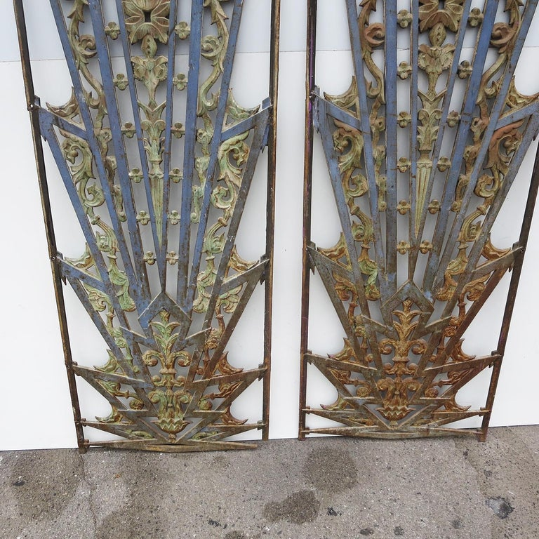 American Art Deco Cast Iron Grates, Set of Two For Sale