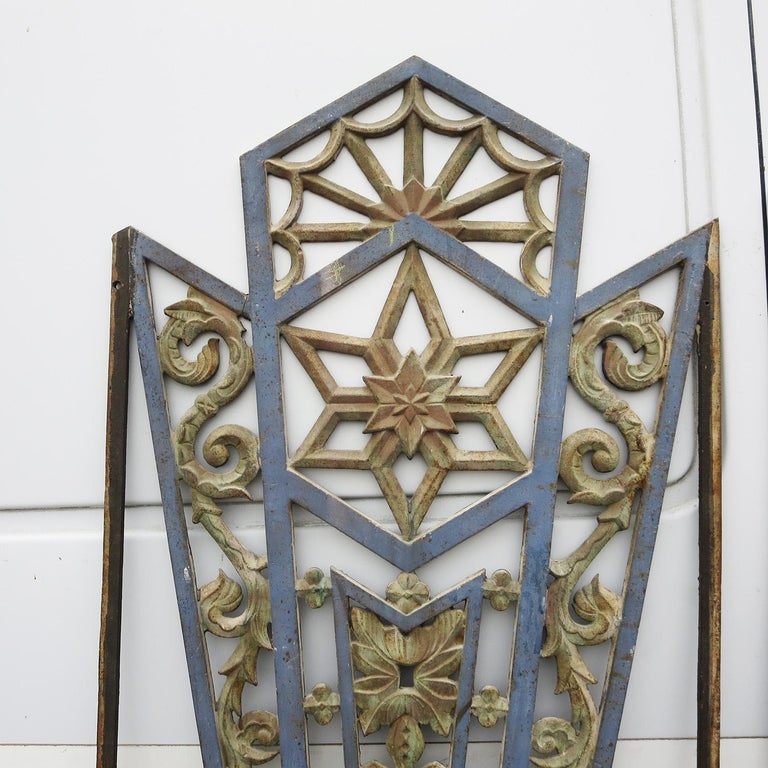 Painted Art Deco Cast Iron Grates, Set of Two For Sale