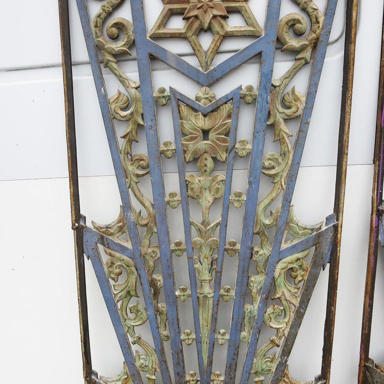 Mid-20th Century Art Deco Cast Iron Grates, Set of Two For Sale