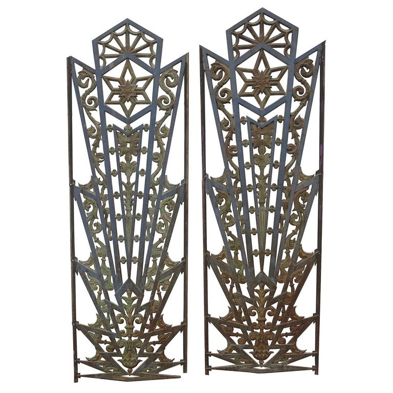 Art Deco Cast Iron Grates, Set of Two For Sale