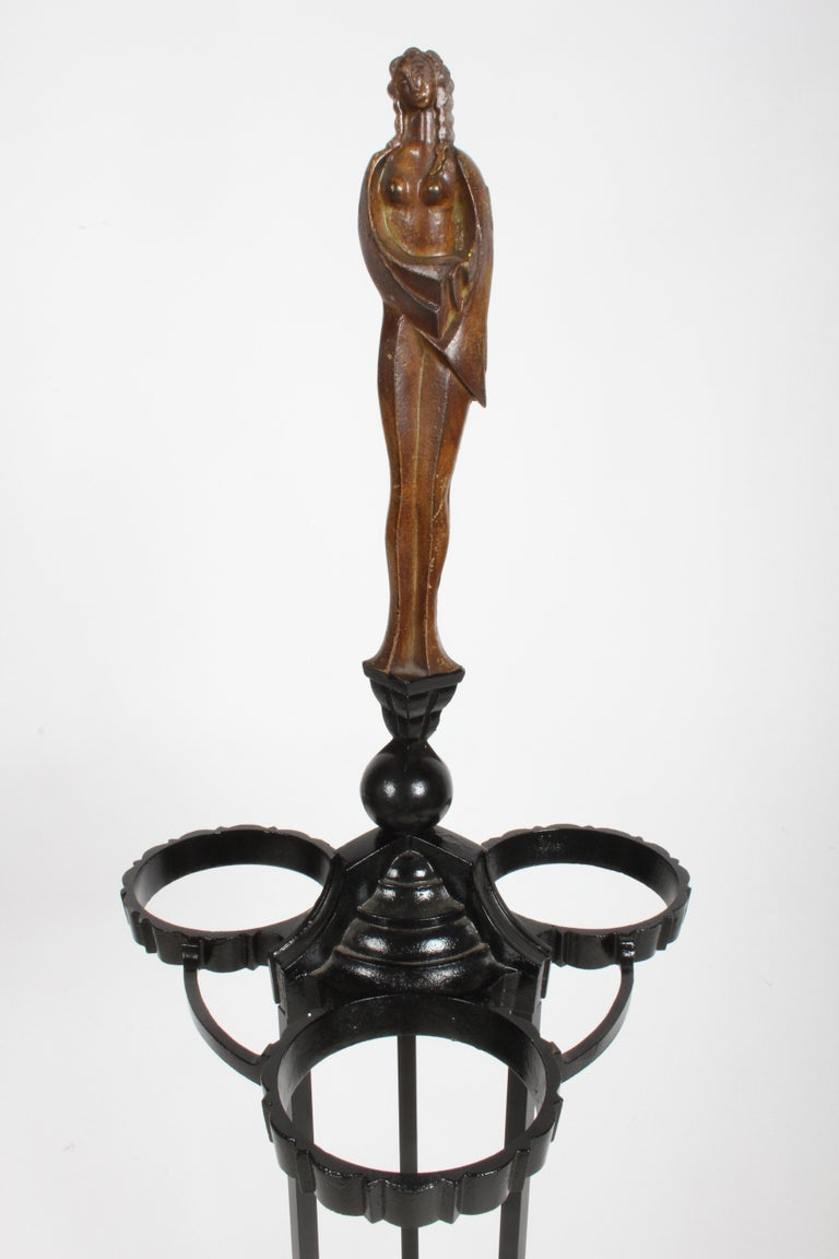 Art Deco Cast Iron Plant Stand with Nude Faux Bronze Female Statue In Good Condition For Sale In St. Louis, MO
