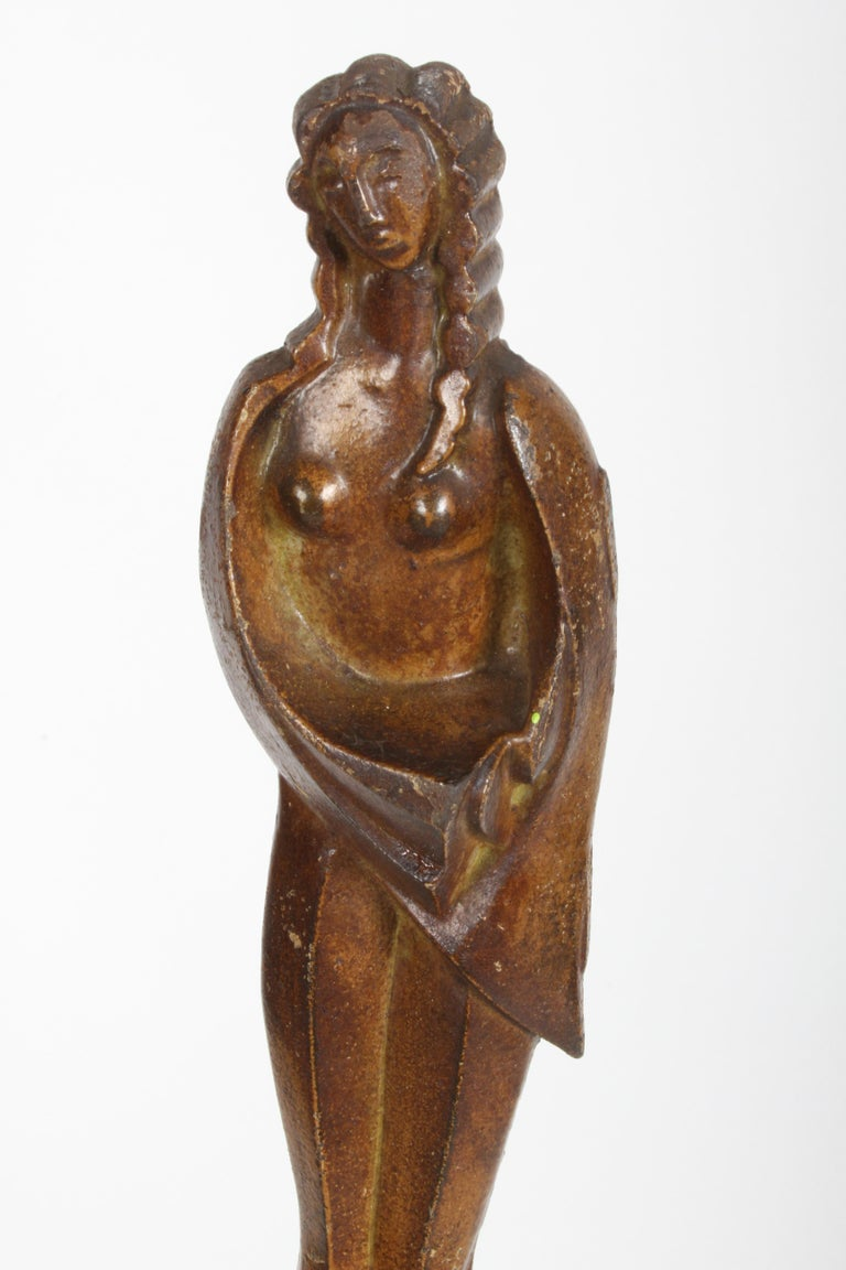 1930s Art Deco Cast Iron Plant Stand with Nude Faux Bronze Female Statue For Sale
