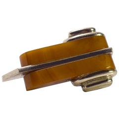 Art Deco Catalin Bakelite and Chrome Dress Clip Streamline Shape, circa 1930