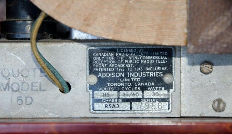 Art Deco Catalin Radio, Addison Model 5D For Sale 6