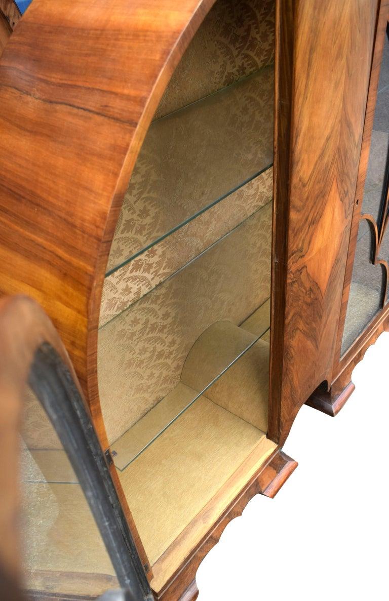 English Art Deco Cathedral Display Cabinet, Vitrine, circa 1930 For Sale