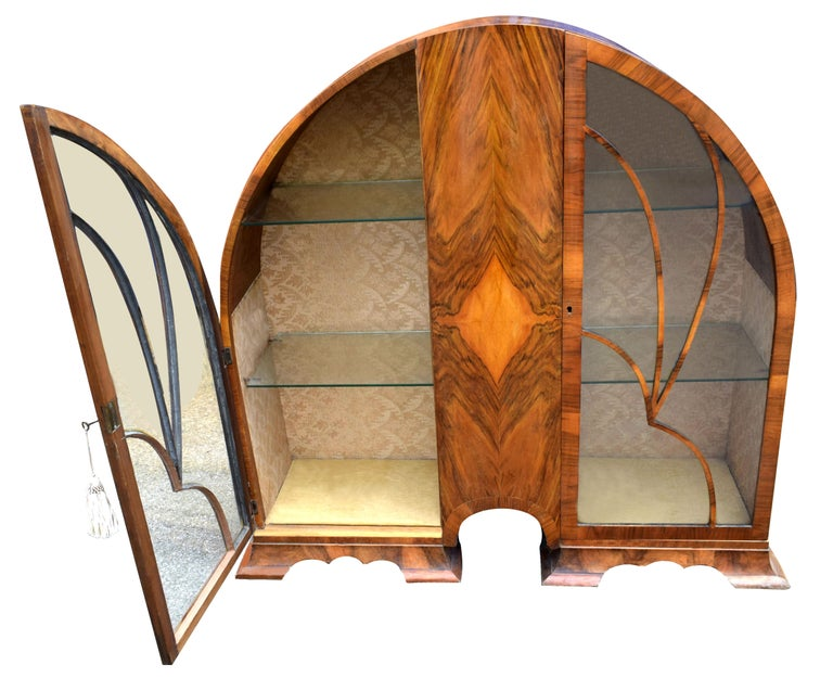 20th Century Art Deco Cathedral Display Cabinet, Vitrine, circa 1930 For Sale