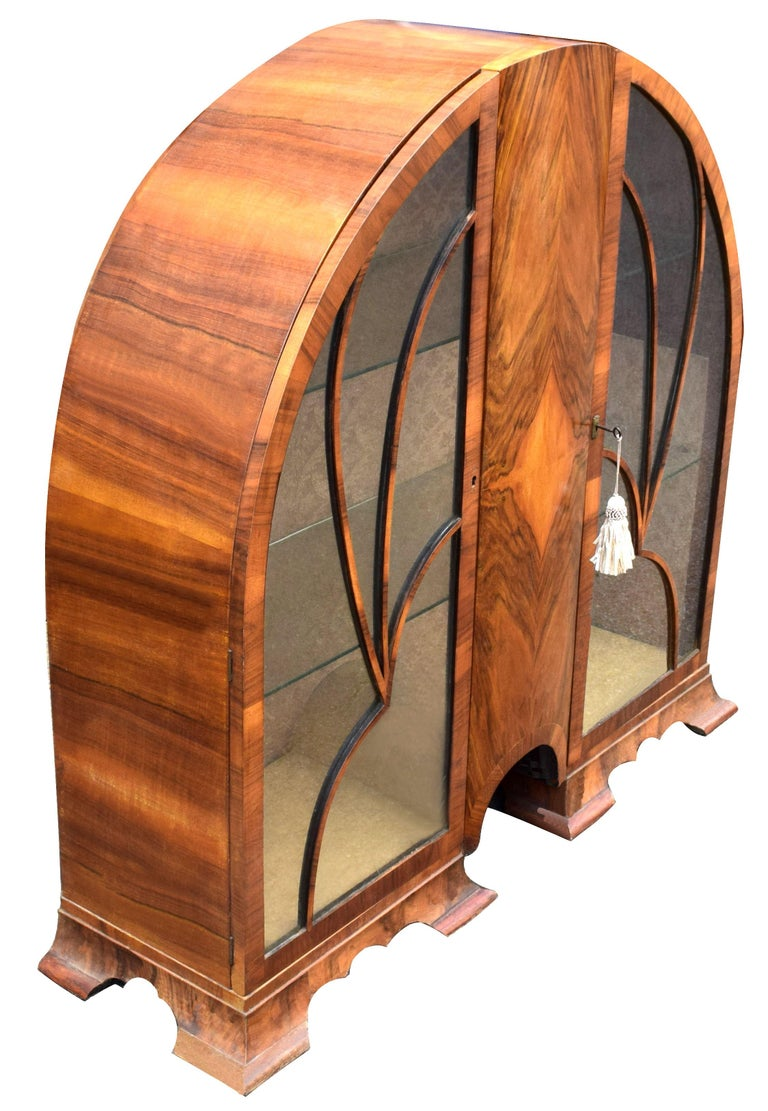 Glass Art Deco Cathedral Display Cabinet, Vitrine, circa 1930 For Sale