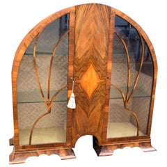 Art Deco Cathedral Display Cabinet, Vitrine, circa 1930