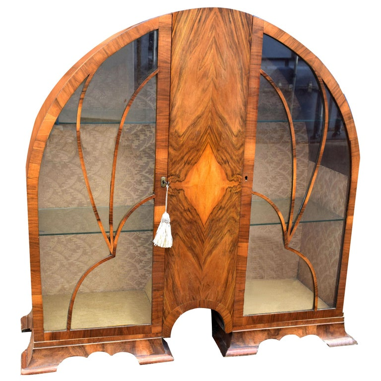 Art Deco Cathedral Display Cabinet, Vitrine, circa 1930 For Sale