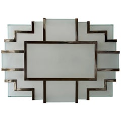 Art Deco modernist brass ceiling lamp with nickel finish.