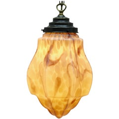 Art Deco Ceiling Lamp, Geometric Glass Shade in Caramel and Cappuccino